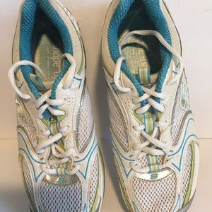 Skechers Shapeups toning shoe teal wht silver Sz 8